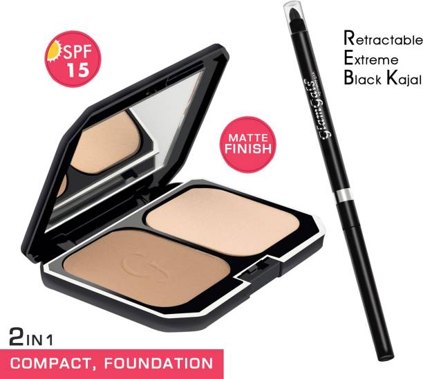 GlamGals HOLLYWOOD-U.S.A 2 in1 Two Way Cake Compact Makeup + Foundation SPF 15,10g (Pink) & Retractable black kajal