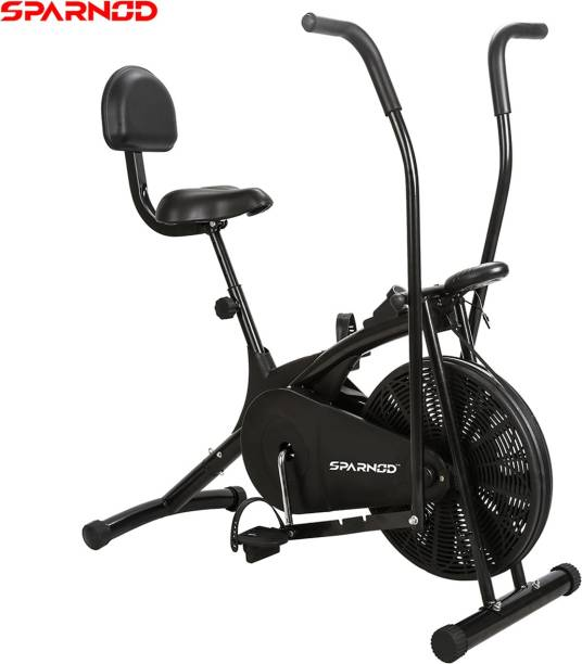 Sparnod Fitness SAB-05 Air Bike Exercise Cycle with back support and moving handles Dual-Action Stationary Exercise Bike