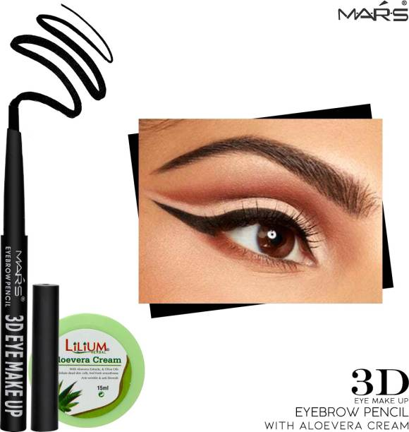 MARS 3D Makeup Eyebrow Pencil EB-06-01 Black with Lilium Aloevera Cream