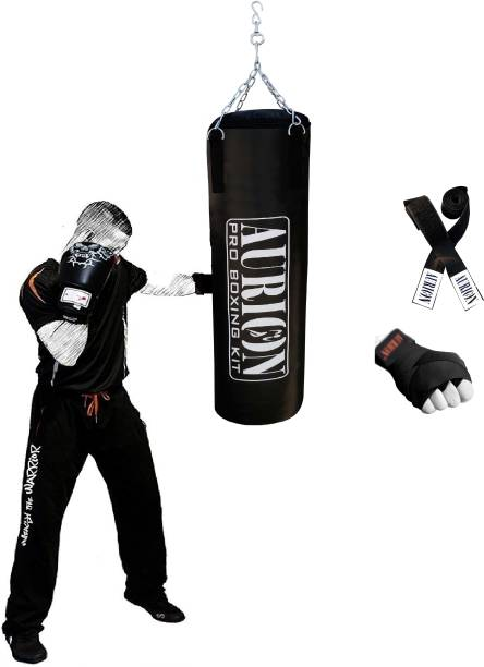 Aurion Unfilled Punching Bag 4 FEET With Hand Wrap MMA Kickboxing Thai Boxing Kit