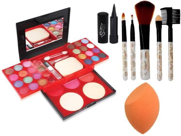 SWIPA Kajal+Blender Puff+5Pcs Makeup Brush+Makeup kit(24 eyeshadow, 3 blusher, 2 compact, 4 lipcolor)
