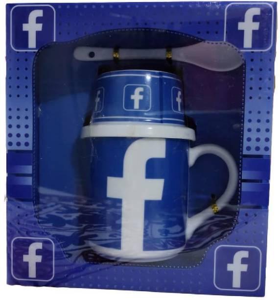 Jayaanu Limited Edition Facebook Gift Set Printed Ceramic Coffee Mug