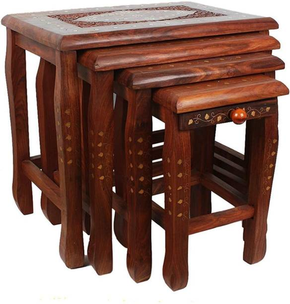 Artesia Sheesham Wood Nesting Tables with Brass Work Solid Wood Nesting Table