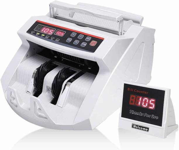 JD9 Note Counting /Currency Counting Machine Note Counting Machine with UV/MG Counterfeit Notes Detection function and External Display (Counting Speed - 1000 Notes/Min) (White) Note Counting Machine