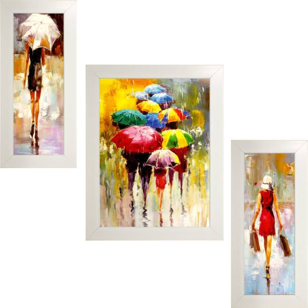 Indianara Set of 3 Ciy Women with Umbrellas in White Frames Paintings (2106) Without Glass 6 X 13, 10.2 X 13, 6 X 13 INCH Digital Reprint 13 inch x 10.2 inch Painting