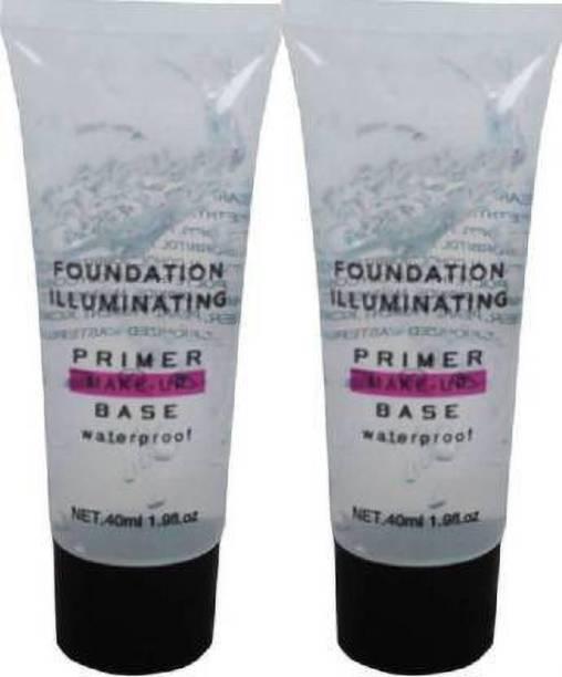 Glamzone WATERPROOF FOUNDATION ILLUMINATING PRIMER MAKEUP BASE Primer - 50 ml (TRANSPARENT) set of 2 Primer  - 50 ml