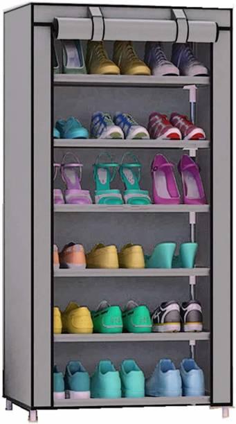 Sasimo 1-Door 6-Shelf Fabric Metal Collapsible Shoe Stand