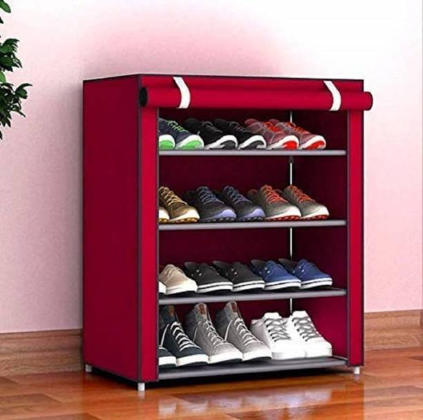 Arohi Designer 1-Door 4-Shelf Fabric Metal Collapsible Shoe Stand