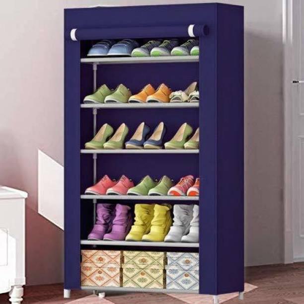 Arohi Designer 1-Door 6-Shelf Fabric Metal Collapsible Shoe Stand
