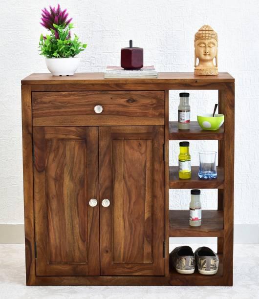 SamDecors Solid Sheesham Wood (Rosewood) Jean Multipurpose Cabinet/Shoe Rack (Lacquer Finish, Natural Teak) Solid Wood Shoe Rack