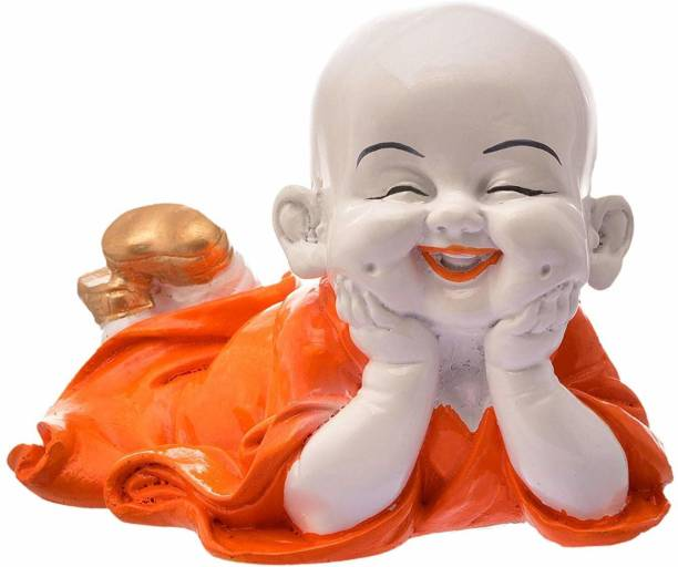 Royalbox Cute Child Monk Showpiece Laughing Baby Buddha Set of 1 Decorative Showpiece  -  17 cm