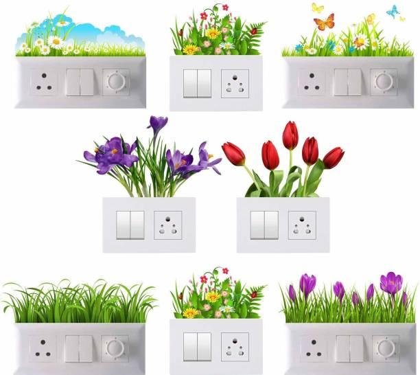 Pixel Print Medium Switch Board Sticker, Switch Stickers, Wall Stickers, Light Switch Sticker Set of 8