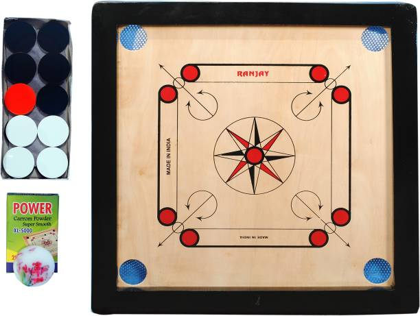 RAK RANJAY SMALL carrom board with coins and powder and striker 50.8 cm Carrom Board