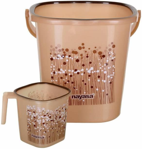 NAYASA 2 piece bucket set ( 1 bucket + 1 matching Mug ) 25 L Plastic Bucket
