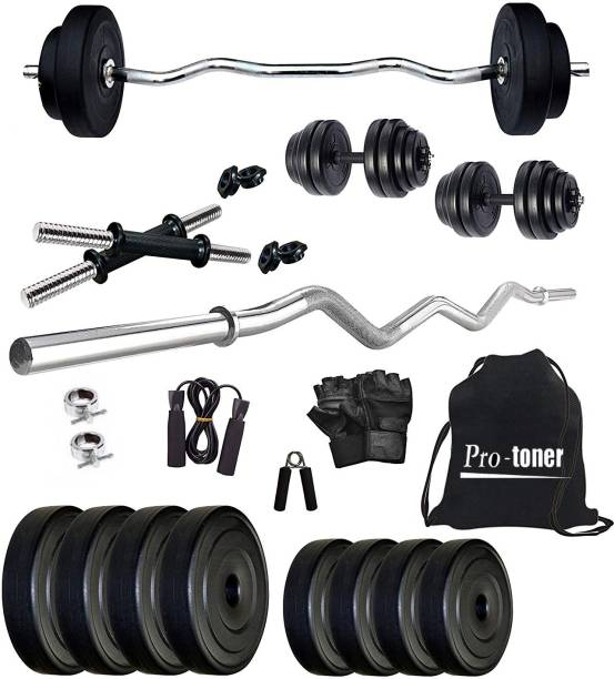 muskular 20 kg Plates with 3 rods with Accessories Home Gym Combo