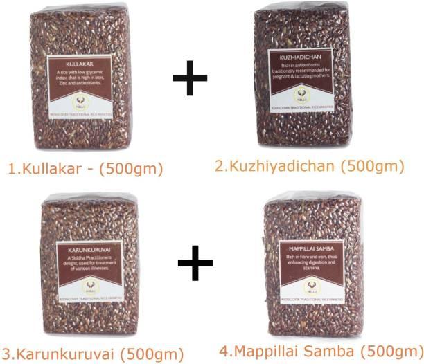 Namma Nellu Traditional Rice - Red Collection / Diabetic Friendly (Kullakar 500gm + Kuzhiyadichan 500gm + Karunkuruvai 500gm + Mappillai Samba 500gm) Red Boiled Rice (Medium Grain, Unpolished)