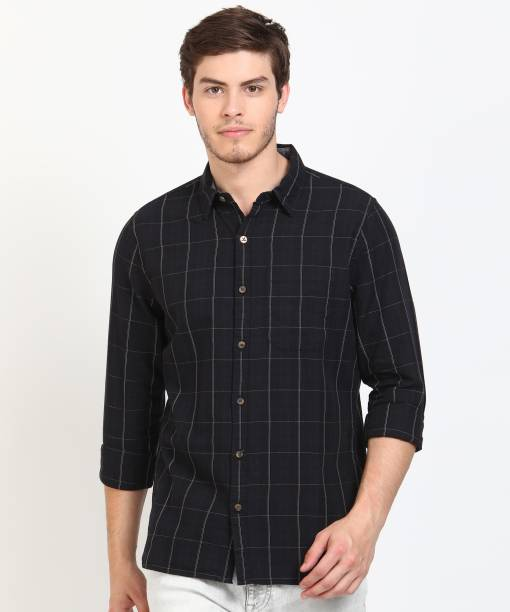 WROGN Men Checkered Casual Dark Blue, Black Shirt