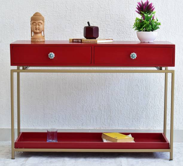 SamDecors Solid Wood 2 Drawer with Tray at Bottom Alex Console Hall Table Red with golden Finish Iron Frame Metal Console Table