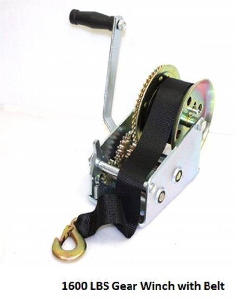 Bellveen 1600lbs Hand/Manual Gear Winch with Nylon Belt 10 m Towing Cable