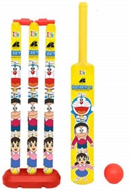 vworld Unbreakable Kids Cricket Kit Set with Bat,Balls, Wickets,Bells- Indoor Beach Outdoor Garden Play Set for 2-6 Yrs Kids ( Doreamon, 24 inch) Cricket Bat