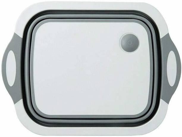 RIVOXX 3 in 1 Multi-Functional Kitchen Dish Storage Rack & Chopping Board with Draining Plug, Folding Washbasin Basket Plastic Cutting Board