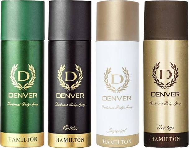 DENVER Imperial , Caliber, Prestige & Hamilton Deo 165 Ml Combo Body Spray  -  For Men