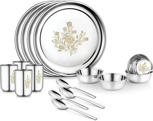 Jensons Pack of 16 Stainless Steel Lilly 16 Pcs Heavy Stainless Steel Dinner Set Dinner Set