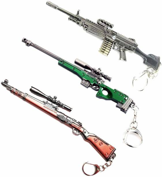 eweft Combo of 3 Pubg Kar98 , AWM, m249 Exclusive Premium Quality Metallic Keychain Player Unknown Battle Ground Car98 Key chain PUBG Gun Sniper Key Ring / Key Chain Key Chain