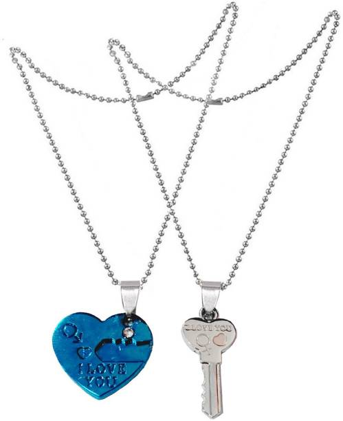 Shiv Jagdamba Valentine Day Gift I love You Heart Lock And Key Couple Locket With 2 Chain His Her Lover Gift Metal Pendant