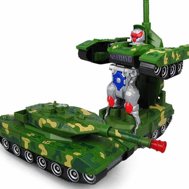 Pick n Play Deformation Combat Tank Transformer Robot Toy with Light, Music and Bump Function | Control War Tank, Full Function for Kids / Boys