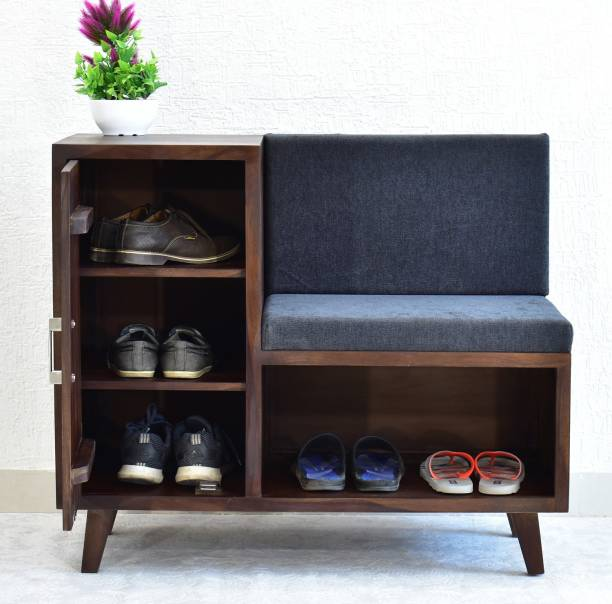 SamDecors Solid Sheesham Wood (Rosewood) Zoe Multipurpose Cabinet/Shoe Rack with Upholstered Seat (Lacquer Finish, Dark Walnut) Solid Wood Shoe Rack
