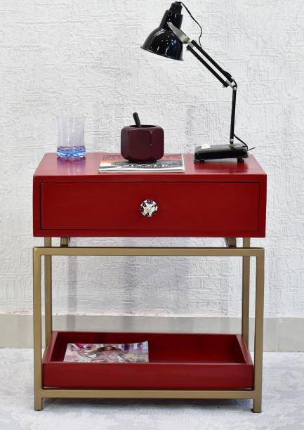 SamDecors Solid Wood One Drawer with Tray at Bottom Eve Side/Bedside Table Red with Golden Finish Iron Frame Solid Wood Side Table