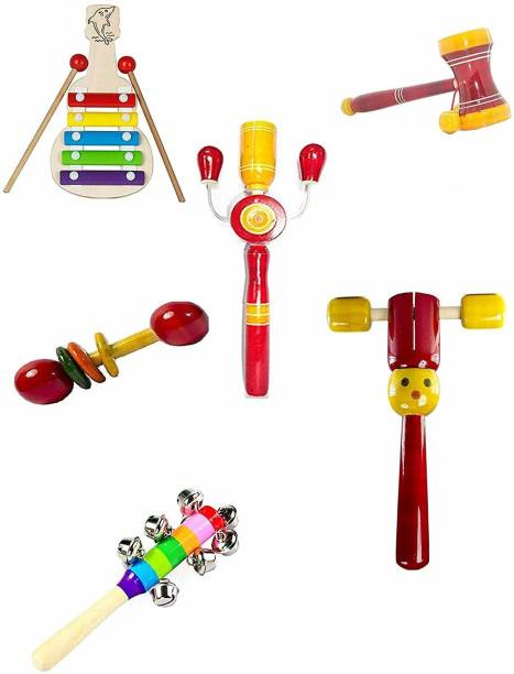 voolex Wooden Hand Crafted Toys Rattle Set for Kids, Babies, Return Gifts for kids - Pack of 6 Rattle