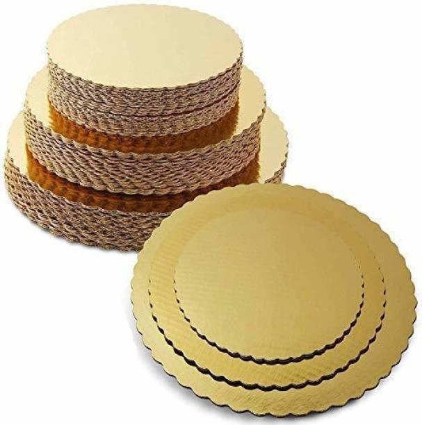 APSAMBR Combo 8 INCH,9 INCH,10 INCH Round Cake Board,Base, 15 Piece Premium Gold Cake Circles, Corrugated, Cake Board, Gold Paper Cake Server