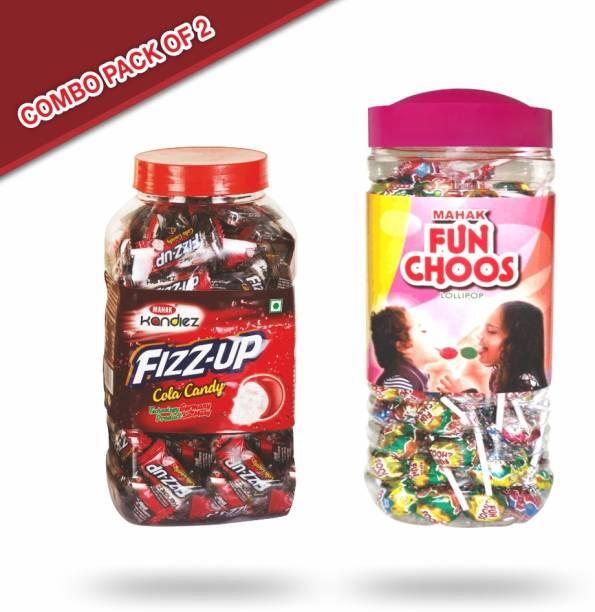 Mahak Fizz-up cola candy jar (175 pcs ) and Fun Choos lollipop candy jar (105 pcs ) fruits and cola Candy