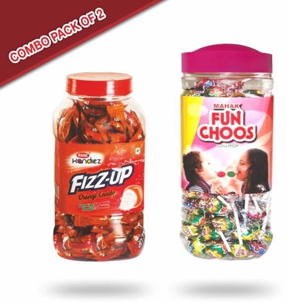 Mahak Fizz-up orange candy jar (175pcs) and Fun Choos lollipop (105 pcs ) fruits and orange Candy