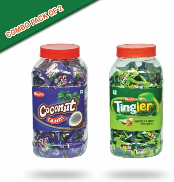 Mahak Coconut toffee jar (160 pcs )with the taste of coconut and Tingler kachcha aam with spices candy jar (160 pcs ) coconut and kacha aam Candy