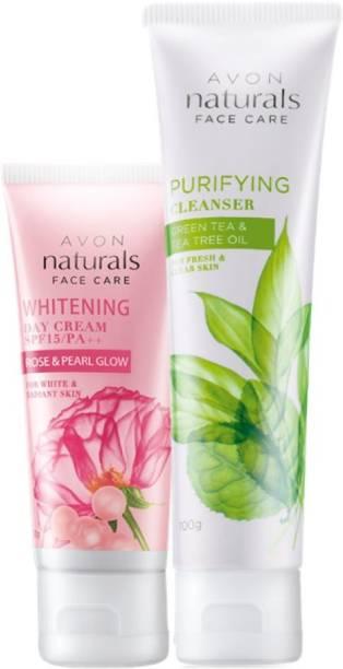 AVON Naturals Rose Pearl Cream & Green Tea Cleanser
