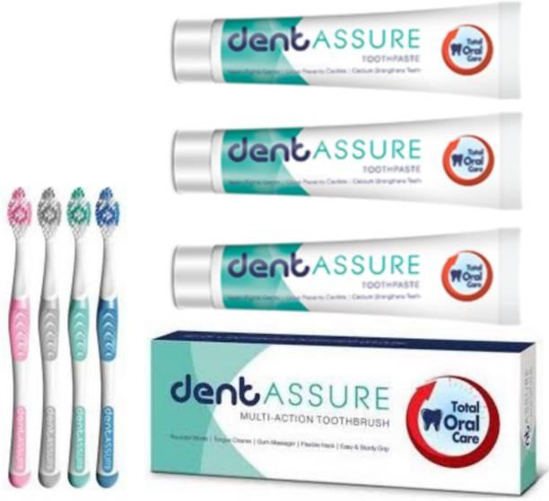 ASSURE 3 Neem Toothpaste + 4 Toothbrush Set Combo