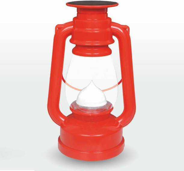 Micron 12 Hi-Bright LED With 1st Step Night Lamp Rechargeable Solar Laltern Red Plastic Table Lantern