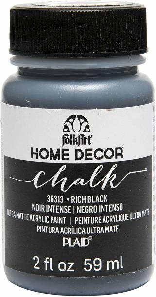 FolkArt HOME DECOR RICH BLACK CHALK PAINT 59ML PACK OF 1 (RICH BLACK)