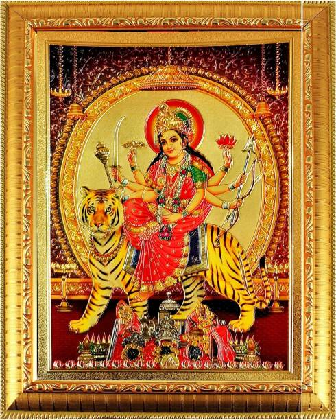 SUNINOW Goddess Durga Ma God Photo for Pooja | Hindu Bhagwan Devi Devta Photo | God Photo Frames | Wall Décor Photo Frame | Photo Frame Religious Frame