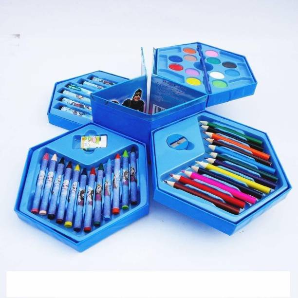 JOY LAND JOYLAND™ Colour Pencil Set for Kids Colors Box Color Pencil Crayons, Water Color Sketch Pens Set of 46 Pieces for Office use