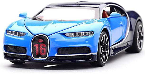Learn With Fun 1:32 Scale Die-cast Metal Model Blue Bugatti Chiron Sport Pull Back Car Toy with Openable Doors, Light and Sound Effects for Boys Girls Kids