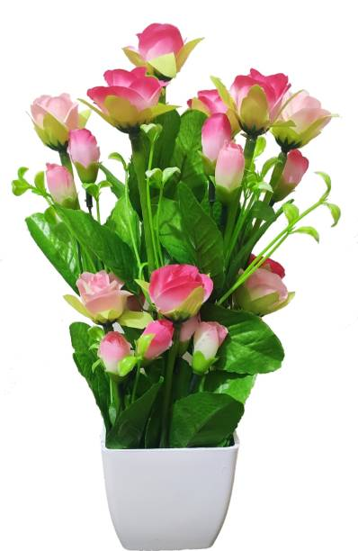 BK Mart Imported Beautiful Pink Rose Flower bunch For home Decor Office Decor - 12 Flower Sticks Pink Rose Artificial Flower  with Pot