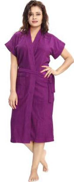 SWASTIK Purple Free Size Bath Robe
