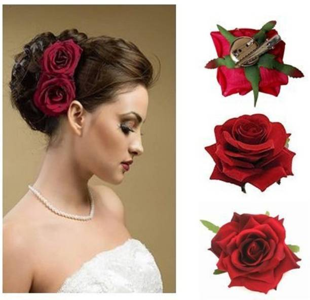 NERR Red Velvet Vintage Rose Flower Brooch Pin For Wedding Party Hair Clip (Red) Hair Accessory Set