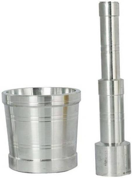 Raviraj Pure aluminum mortar and pestle pack of 2 Aluminium Masher