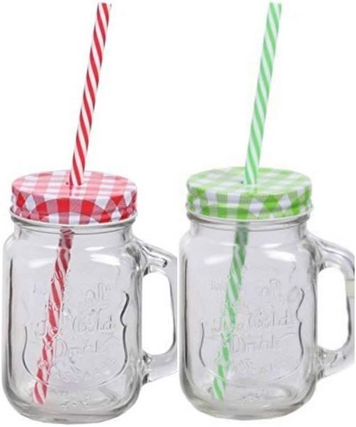 Biz International Glass Mason Jar with Straw and Handle, 500ml, 2-Piece (Transparent) Glass Mason Jar