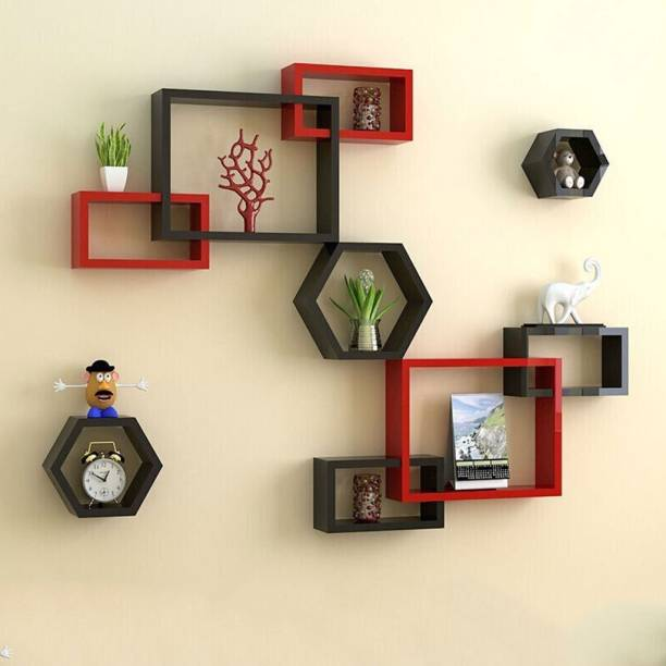 Artesia Wall Mount Intersecting Hexagon Wall Shelves MDF (Medium Density Fiber) Wall Shelf